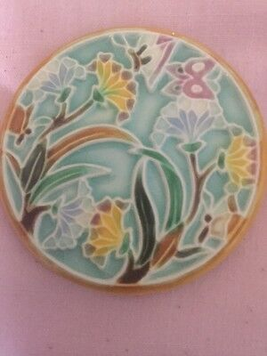 Art Deco or Art Deco Style Circular Ceramic Plaque,Stylised Tube Lined Flora.