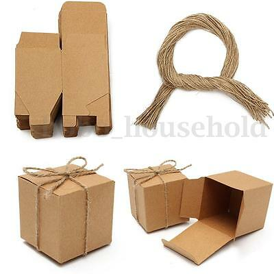 50/100x Vintage Kraft Paper Laser Cut Candy Gift Boxes Wedding Party Favours