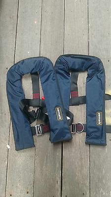 2 x Automatic Parmaris Lifejackets with Harness 150N (Blue) Auto Life Jacket