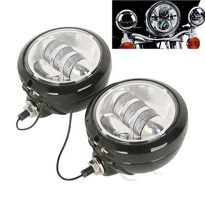 "4-1/2"" LED Spot Fog Passing Lights For Harley Touring Softail Dyna Sportster XL"