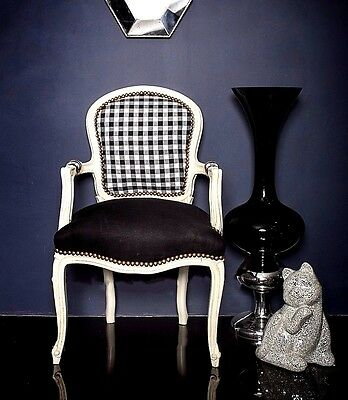 French Louis Gingham Armchair White Black Shabby Chic Antique Bedroom Hall
