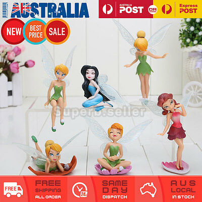6x Tinkerbell Fairy Figures Wing Fairies Princess Birthday Cake Topper Figurine