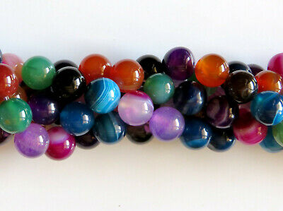 50pcs 8mm Round Natural Gemstone Beads - Mixed Agate
