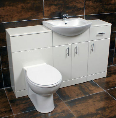 1400mm Vanity Set Including Drawer Line Basin + Toilet Unit Bathroom Suite White