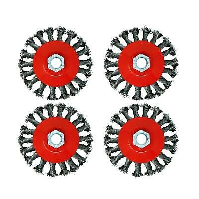 """4 Pcs M14 Crew Twist Knot Wire Wheel Cup Brush Set for 4.5"""" 9"""" Angle Grinder"""