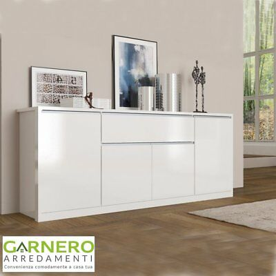 Credenza Open 4 Ante Mobile Buffet Madia Moderna Base Bianco Lucido