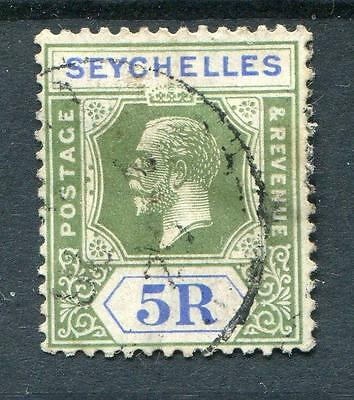 Seychelles 1921-32 5r yellow-green and blue SG123 used cat £170 - see desc