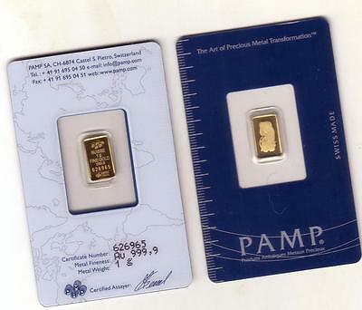PAMP Suisse or Hearaus Sealed With Assay Cert .9999 Gold Bullion Bar / swiss x 1