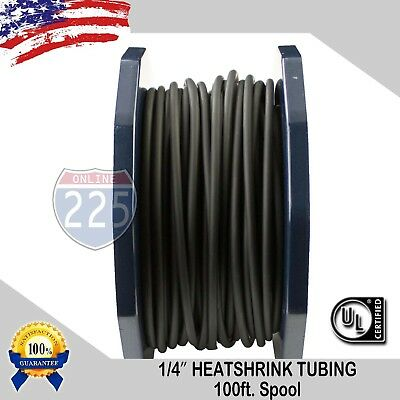 """100 FT 100' Feet BLACK 1/4"""" IN Polyolefin 2:1 Heat Shrink Tubing Wire Cable Tube"""