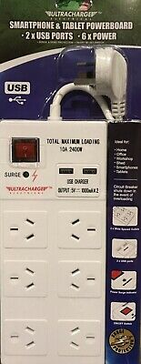 New 6 Way Surge Protector Power Board With 2 x USB Charge iPhone & Smart Phones