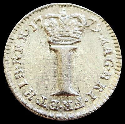 1779 Silver Great Britain One Pence George Iii Maundy Money Coin - About Unc.