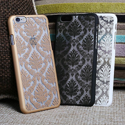 Luxury Hard Back Damask Case Cover for Apple iPhone + FREE Screen Protector
