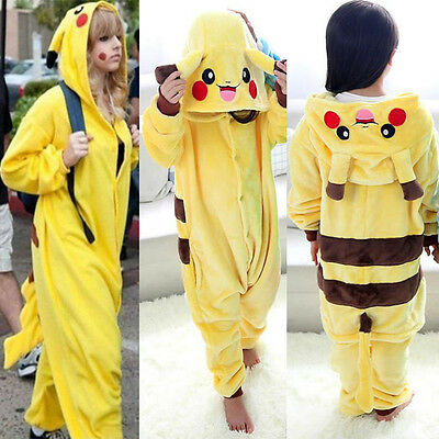 Unisex Onesie Pikachu Kigurumi Pajamas Anime Cosplay Costume Dress Sleepwear