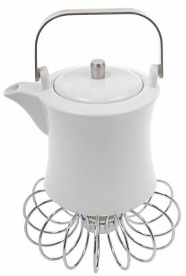 Benzer - White 2020 Giorgio 800ml Tea Pot with Wire Warmer Set Gift Boxed