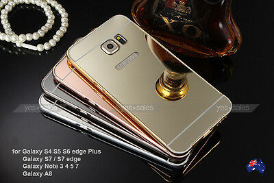 Plating Mirror Acrylic Back Metal Bumper Case Cover for Samsung Galaxy S5 S6 S7