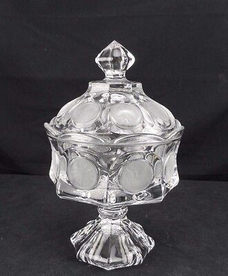 Clear Fostoria Glass Frosted Coins Covered Candy Dish