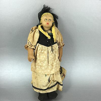 Handcrafted Vintage Doll Paper Mache German Girl With Pigtails
