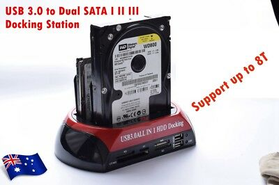"USB 3.0 Card Reader Hub Dual Bay Docking Station 2.5"" & 3.5"" IDE SATA HDD SSD"