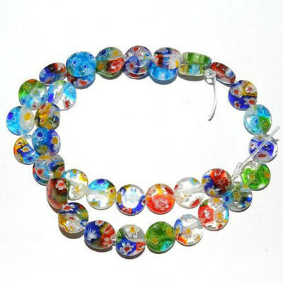 Wholesale 50/100Pcs Assorted Mixed Flat Round Millefiori Loose Spacer Beads 6MM