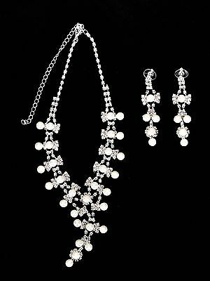 Bridal Wedding Party Prom Jewelry Set Crystal Rhinestone Pearl Necklace Earrings