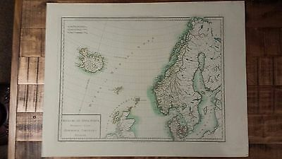VERY NICE, ANTIQUE Hand Colored map of Denmark - P. Tardieu, c.1790