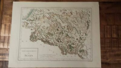VERY NICE, ANTIQUE Hand Colored map of Bearn, France - P. Tardieu, c.1790