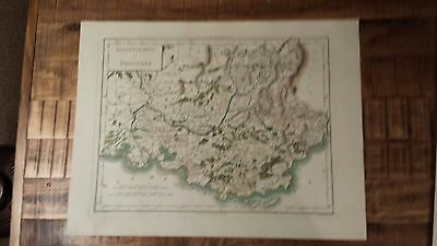 VERY NICE, ANTIQUE Hand Colored map of Provence, France - P. Tardieu, c.1790