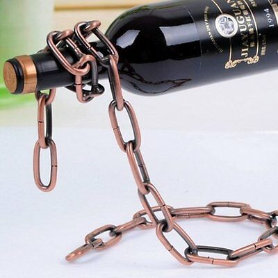 Cool Magic Floating Chain Wine Bottle Holder Illusion Rack Stand Support Bracket