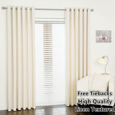 75% Blockout Curtain Linen Texture Thermal Insulated Eyelet Top Curtain White