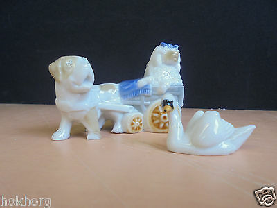 Early Wade Whimsie Swan And Berine Pulling Poo Animal Ornaments C1950S