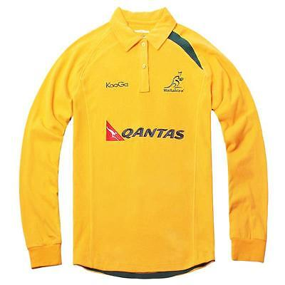 Wallabies Mens Traditional Cotton Long Sleeve Rugby Jersey Size S-3XL