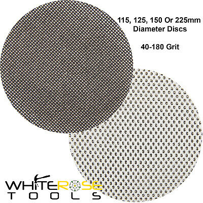 Silverline 10pc Hook & Loop Mesh Sanding Discs Paper 115-225mm 40-180 Grit