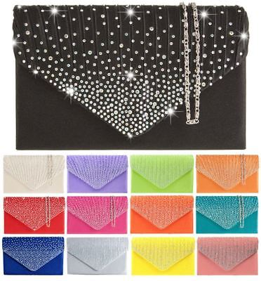 New Pleated Diamante Satin Elegant Prom Bridal Evening Purse Clutch Bag