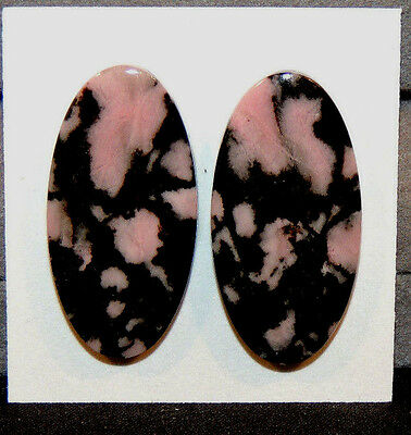 Pink Rhodonite Cabochons 30x15mm with 4.5mm dome set of 2 (10986)