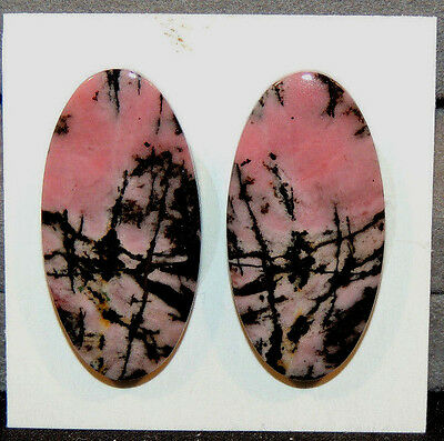 Pink Rhodonite Cabochons 30x15mm with 4.5mm dome set of 2 (10987)