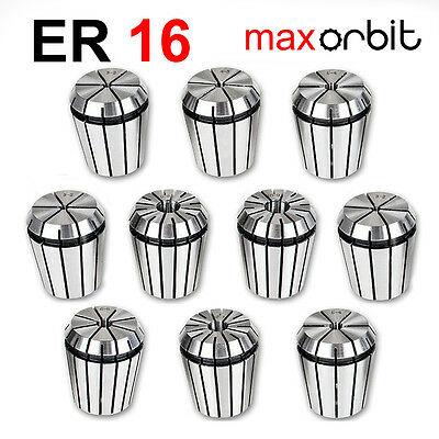 10 PC ER16 Milling Spring Collet 1-10mm CNC Mill Latch Machine Chuck