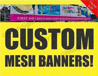 Custom Sign Mesh Fence Banner. Outdoor for construction sites. Choose a size