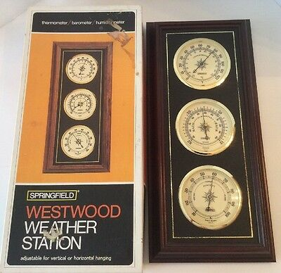 """Springfield """"Westwood"""" Wall Mount Weather Station Thermometer Barometer Humidity"""