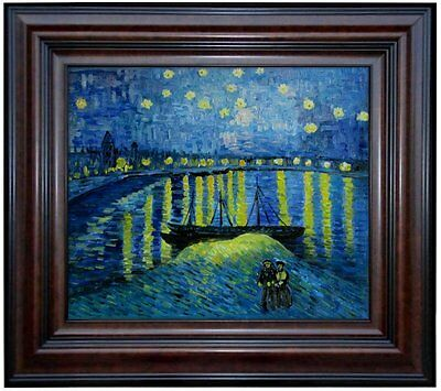 Framed Van Gogh Starry Night over Rhone Repro Hand Painted Oil Painting, 20x24in