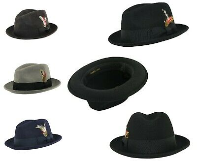b91ae724 Unisex Crushable C-Crown 100% Wool Felt Trilby Hat with Removable Feather