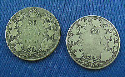 1910 1911  canada 50 cents circulated