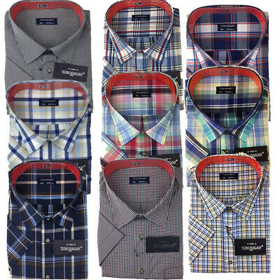 Big Sizes Short Sleeve Summer Yarn Dyed Poly Cotton Check Shirt By Tom Hagan