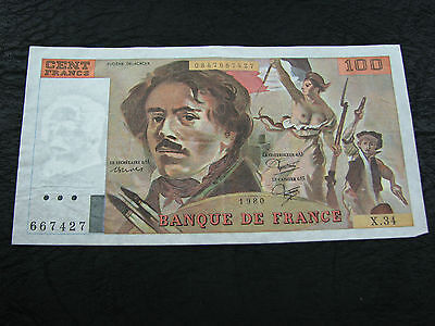 France 1980 100 Francs XF a nice bank note