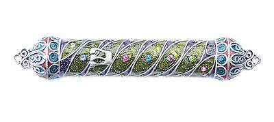 Pewter & Enameled Jeweled case Mezuzah with Crystal stones Jewish Judaica L-5.4""