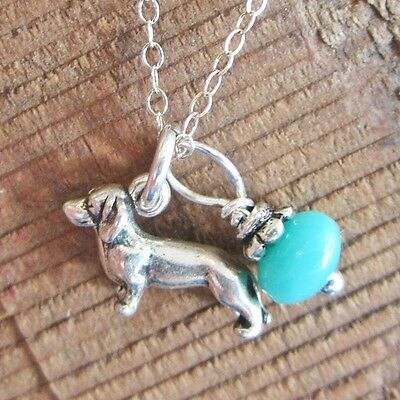Dachshund Glass Bead Sterling Silver Necklace - Free Shipping