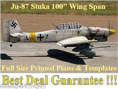 """Junkers JU-87 Stuka 100"""" WS Giant Scale RC Airplane PRINTED Plans & Templates"""