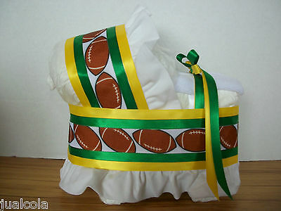 Green Bay Football Colors Diaper Bassinet Baby Shower Table Decoration
