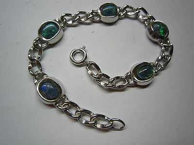 Massives Panzer-Armband in Silber 925 mit 5 x Opal