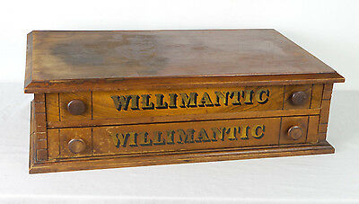 Antique Willimantic Spool Cabinet 2 Drawer Country Store Counter Top Display