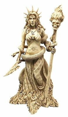 "Greek Protective Goddess Hecate with Snake Witchcraft Figurine Statue 10.5"" Tall"